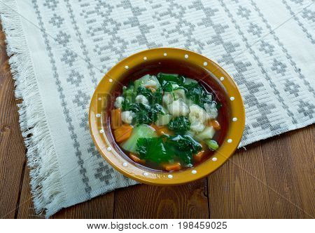 nettle soup.Russian green shchi with nettle  mediterranean cooked close up