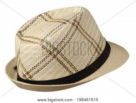 Hat With A Brim .hat Isolated On White Background .beige Hat