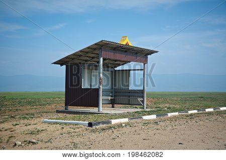 Deserted bus stop Barguzin valley Buryatia Russia.