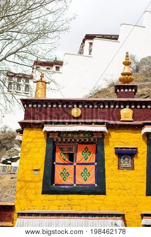 Yellow temple for praying in Lhasa, Tibet, vertical view