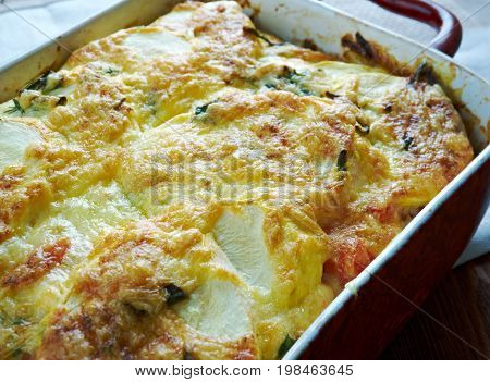 Moussaka with zucchini.Greek cuisine close up meal