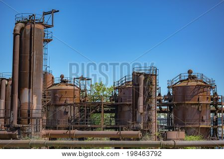 Abandoned Machines In A Gas Industry At Gas Works Park Seattle