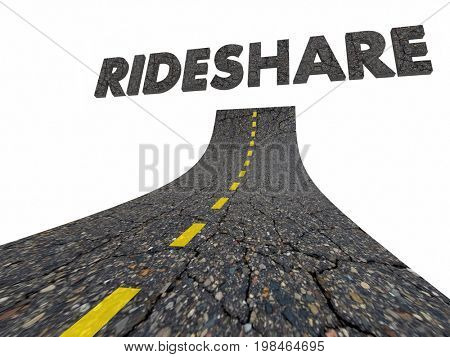 Rideshare Mobility Traffic Trend Road Word 3d Illustration