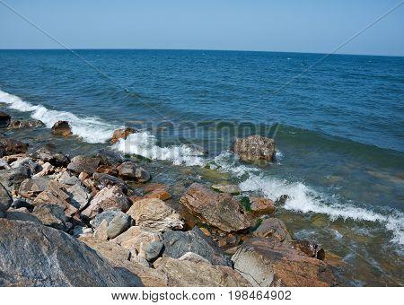 view at lake Baikal in Ust-Barguzin, Buryatia summer