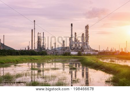 Oil Refinery factory in the morning petrochemical plant Petroleum.
