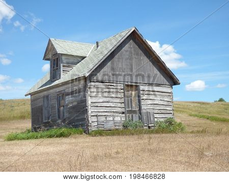 A old Log Home used by people who homesteaded in Rural Eastern North Dakota
