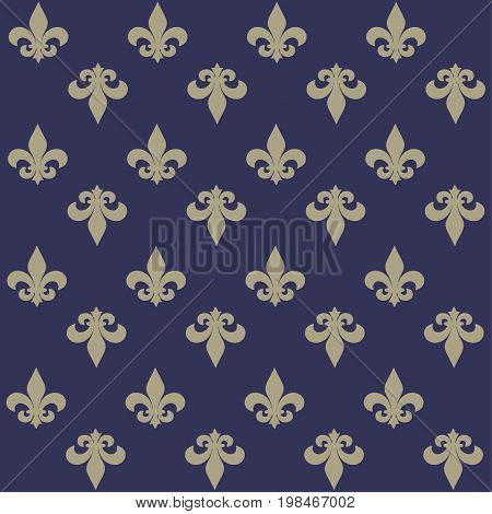 The fleur-de-lis or flower-de-luce seamless pattern. Background with royal French lily.
