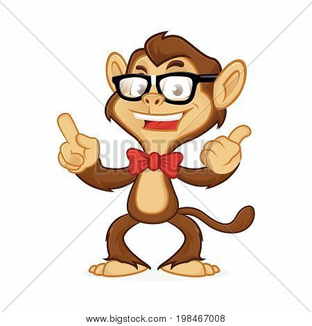 Chimp Cartoon Mascot Wearing Glasses And Pointing
