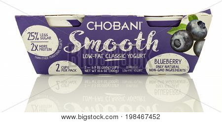 Winneconne WI - 5 August 2017: A package of Chobani smooth yogurt in blueberry flavor on an isolated background.