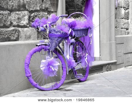 A purple bicycle