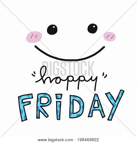 Happy Friday word and cute smile face illustration