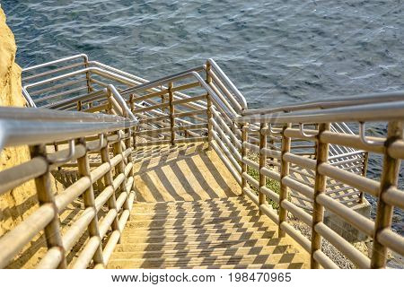 Stairs Down To The Ocean In Point Loma, California