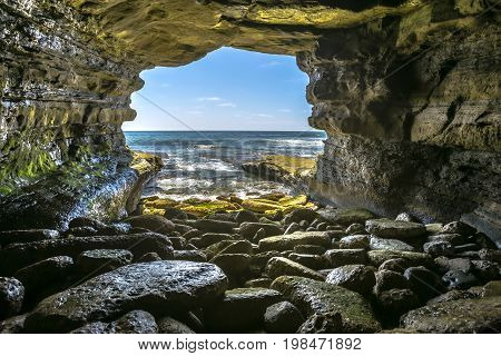 The Beautiful Rock Cave At The Sea In La Jolla California