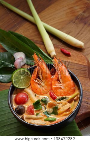 Tom Yum Goong or Tom Yam Kung is soup food thai shrimp soup thai is sour taste.