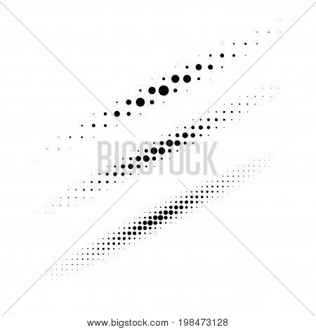 Set of halftone circle dots design elements. Collection of diagonal thin oval lines using halftone texture for logo or emblem. Vector design elements.