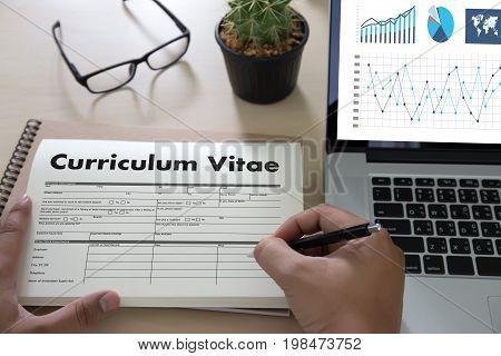 Cv - Curriculum Vitae (job Interview Concept With Business Cv Resume) , Business Office Businessman