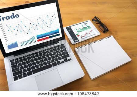 Professionals Working Trade  Finance Forex Graph Chart Concept Manager Showing Reports