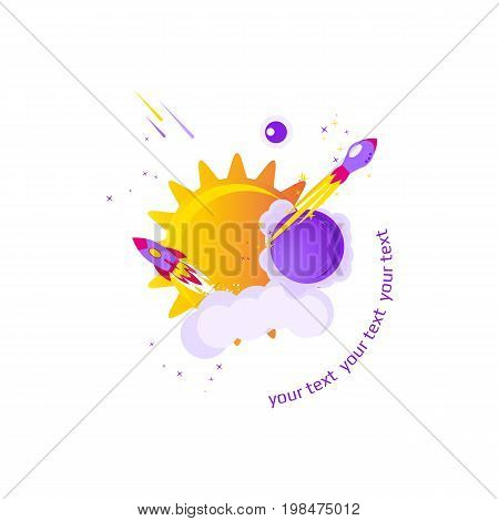 Flat banner on space theme on white background. Vector illustration