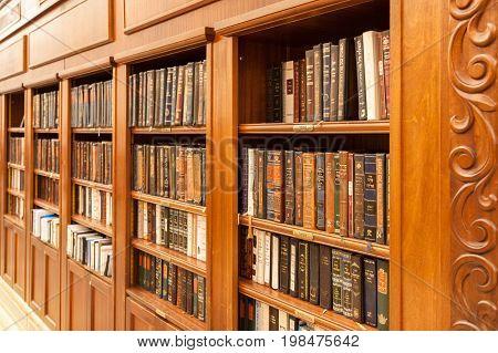 Jerusalem, Israel - Nov 08, 2011: Holy Jewish Books In A Bookcase