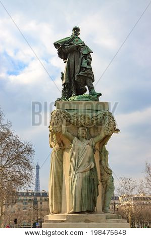 PARIS/ FRANCE - Mar-31-2013: Monument of marechal Gallieni in Paris near Les Invalides