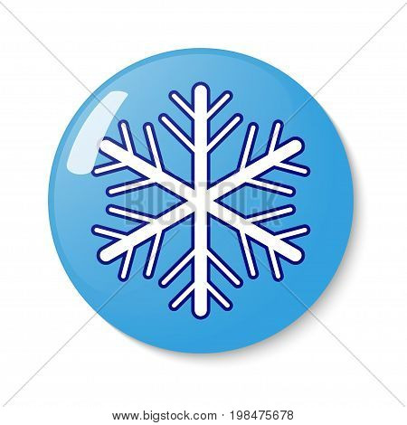 Button with snowflake the emblem. Vector illustration.