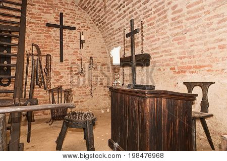 Inquisition torture chamber. Old medieval torture chamber with many pain tools