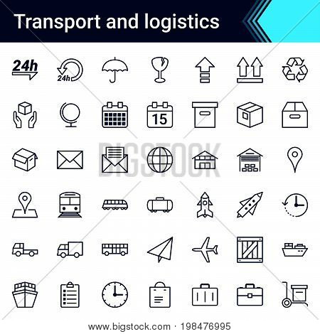 Transport and logistics simple thin icon set isolated on white background