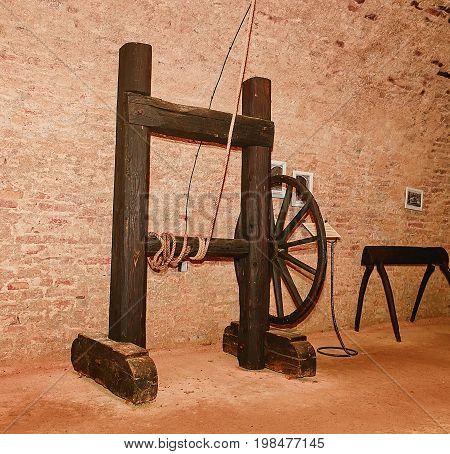 Medieval torture rack. Medieval instrument of torture