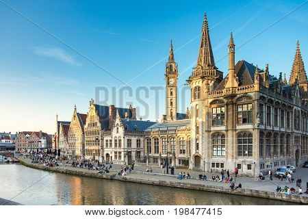 The Graslei Quay In The Historic City Center Of Ghent, Belgium