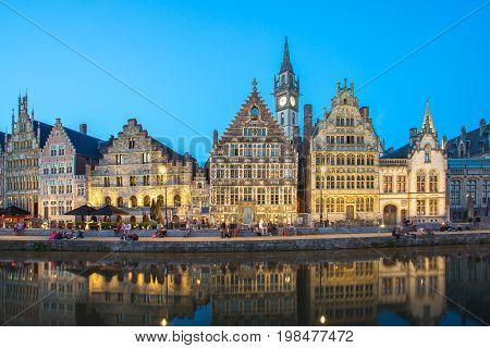 The Graslei Quay At Night In Ghent, Belgium