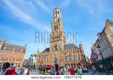 The Belfry Of Bruges In Market Square In Bruges, Belgium