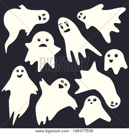 Funny scary white emotional ghost characters on dark blue background. Isolated vector holiday spooky monsters set