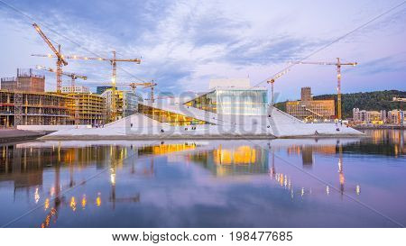 Opera House In Oslo City At Night In Norway
