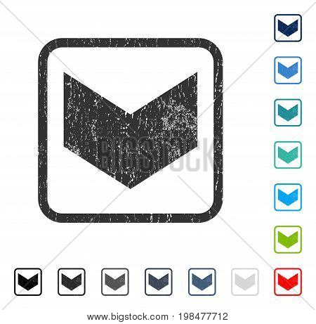 Direction Down rubber watermark in some color versions.. Vector pictogram symbol inside rounded rectangular frame with grunge design and unclean texture. Stamp seal illustration, unclean sticker.