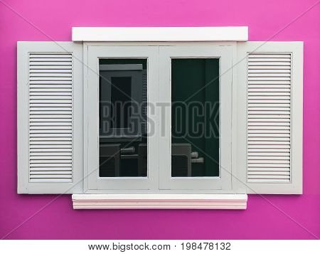 European style window, and pink color background.