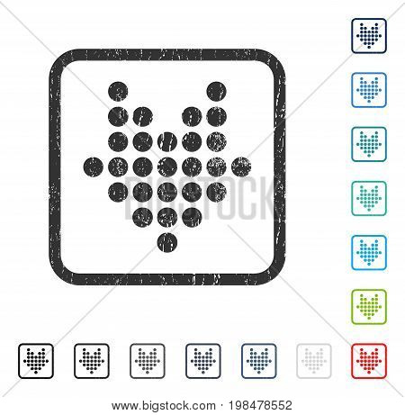 Dotted Arrow Down rubber watermark in some color versions.. Vector pictogram symbol inside rounded rectangular frame with grunge design and dirty texture. Stamp seal illustration, unclean sticker.