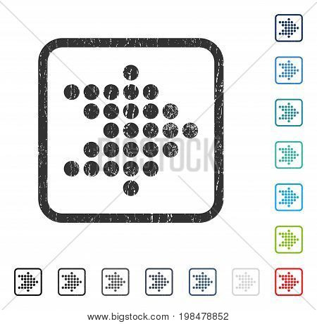 Dotted Arrow Right rubber watermark in some color versions.. Vector pictogram symbol inside rounded rectangle with grunge design and unclean texture. Stamp seal illustration, unclean emblem.