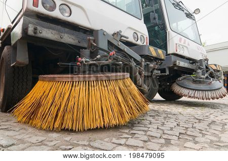 Community Street Cleaners, Color Image, Selective Focus, Horizontal Image