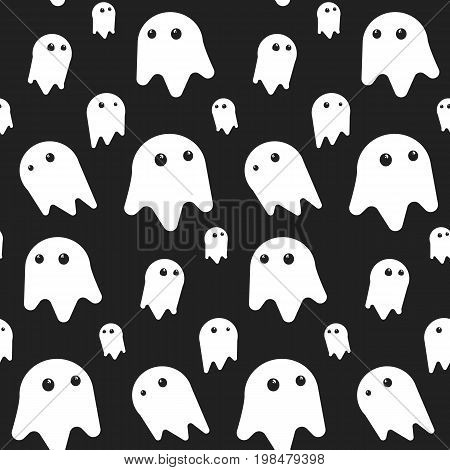 Cute seamless pattern with white funny ghosts on black background. Nice halloween texture for textile, wrapping paper, cover, background, wallpaper, surface, web design