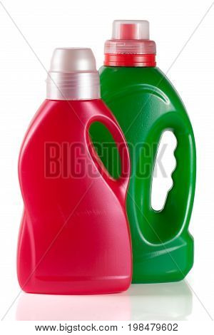 laundry detergent bottle with fabric softener isolated on white background.