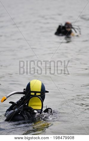 Lake divers on a surface color image selective focusvertical image