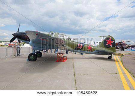 ZHUKOVSKY, RUSSIA - JULY 20, 2017: Ilyushin II-2m3 - soviet ground attack of the Second World War on the MAKS-2017, airshow