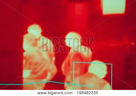 Thermal Camera Surveillance, Color Image, Selective Focus, Horizontal Image