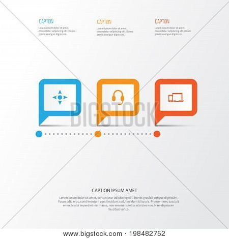 Music Icons Set. Collection Of Devices, Headset, Arrow And Other Elements