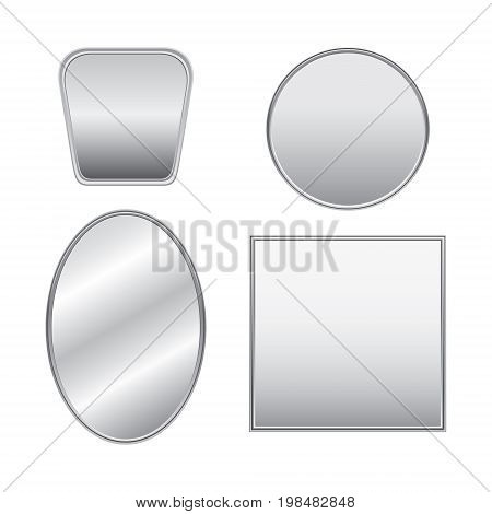 Vector realistic mirrors silver set with reflection. Mirror frames or mirror decor interior vector illustration. Flat design, vector illustration, image on white background.