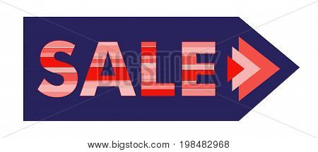 Design sale sign on the arrow. Striped red letters barcode. Vector illustration.
