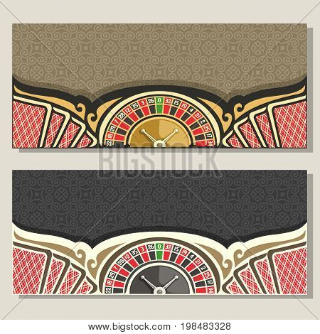 Vector gamble banners for Casino: 2 layouts invitation with roulette wheel for gambling game, red backs of playing card on brown pattern, template flyer with grey background for text on casino theme.