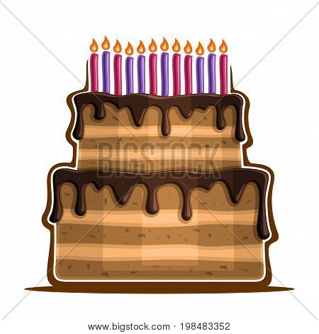 Vector illustration of birthday Cake: two tier festive dessert with 12 colorful burning candles, icon of anniversary cake, large homemade wedding cake with chocolate dripping sauce for holiday event.