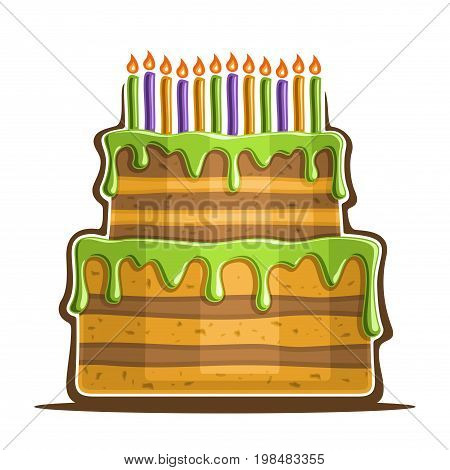 Vector illustration of birthday Cake: two level festive dessert with 12 colorful burning candles, icon of anniversary cake, big homemade wedding cake with fruit dripping glaze icing for holiday event.