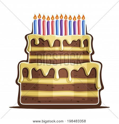 Vector illustration of birthday Cake: two tier festive dessert with 12 colorful burning candles on white background, icon anniversary cake, chocolate wedding cake with vanilla icing for holiday event.